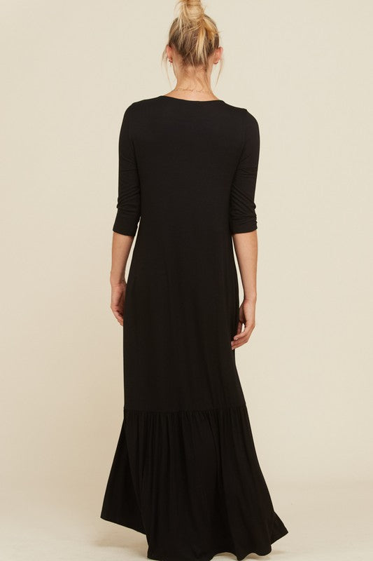 Black 3/4 Sleeves Swing Hi Lo Maxi Dress