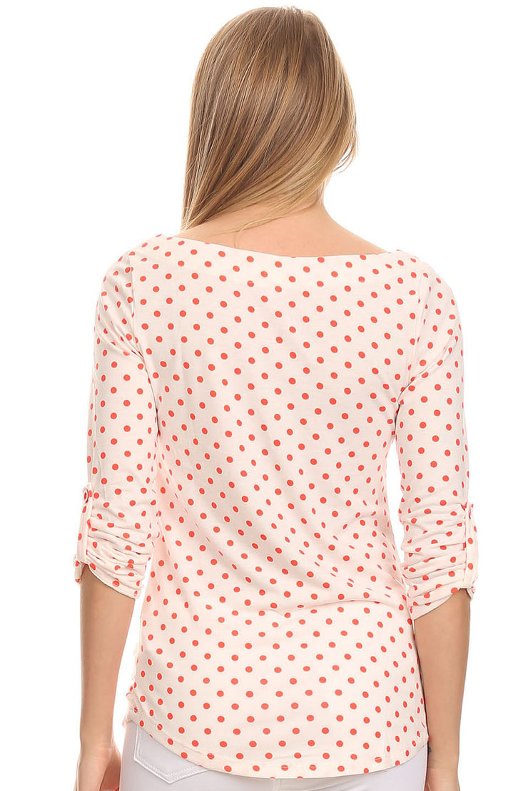'Mary' Ivory & Coral Polka Dot Top