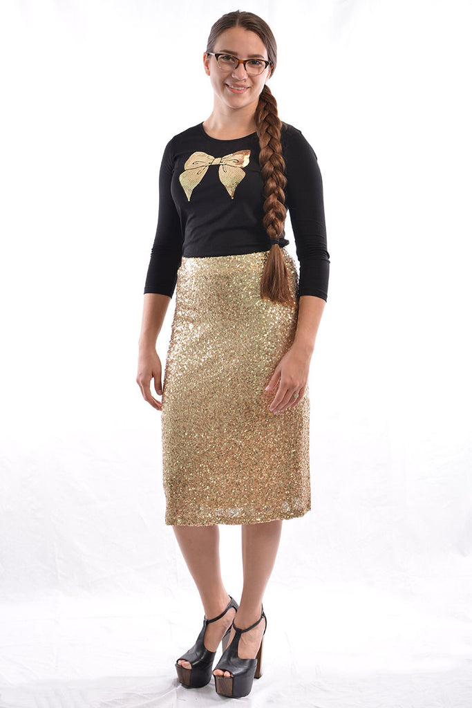 Sequin Straight Skirt