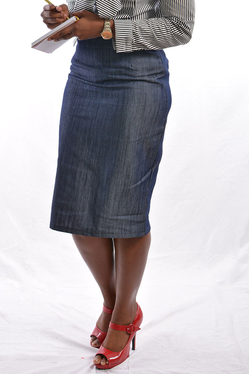 Light Weight Flat Front Denim Skirt (FINAL SALE)