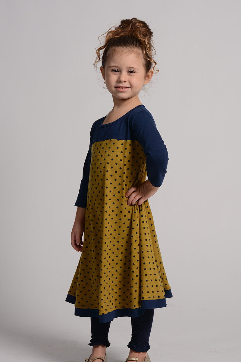 Kaitlyn Navy and Polka Dot Dress