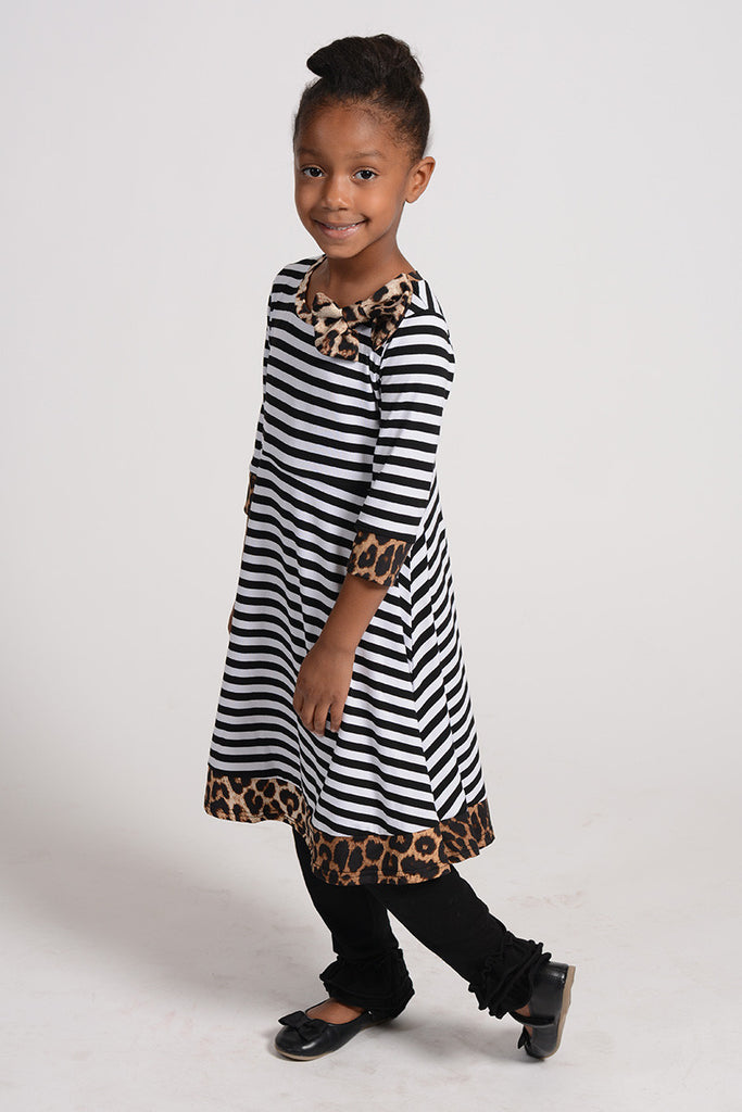 Madeline Stripe & Leopard Dress