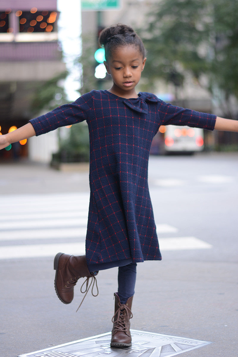 Jazlyn Navy & Burgundy Plaid Dress