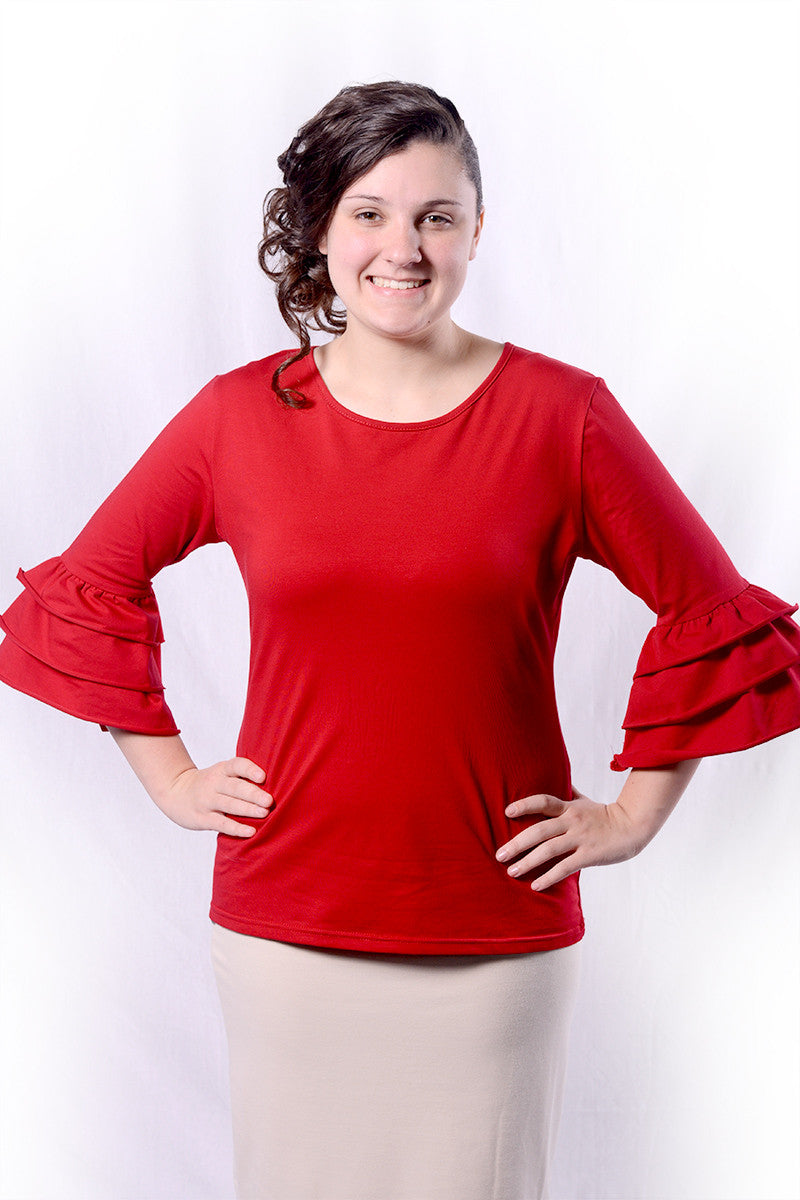Deep Red Sasha Ruffle Sleeve Top