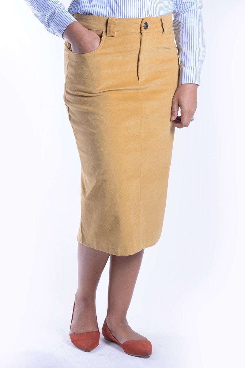 Tabitha Mustard Corduroy Skirt FINAL SALE