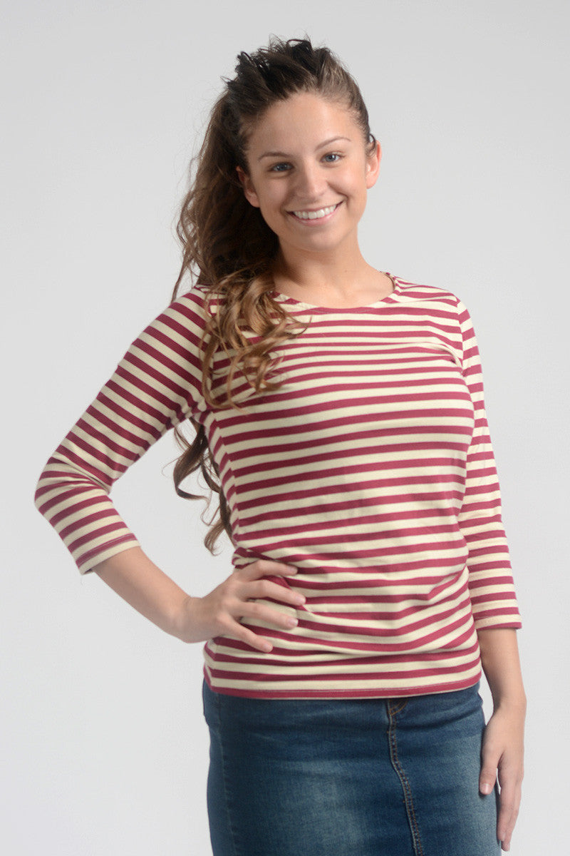 Striped 3/4 Sleeve Tee (FINAL SALE)