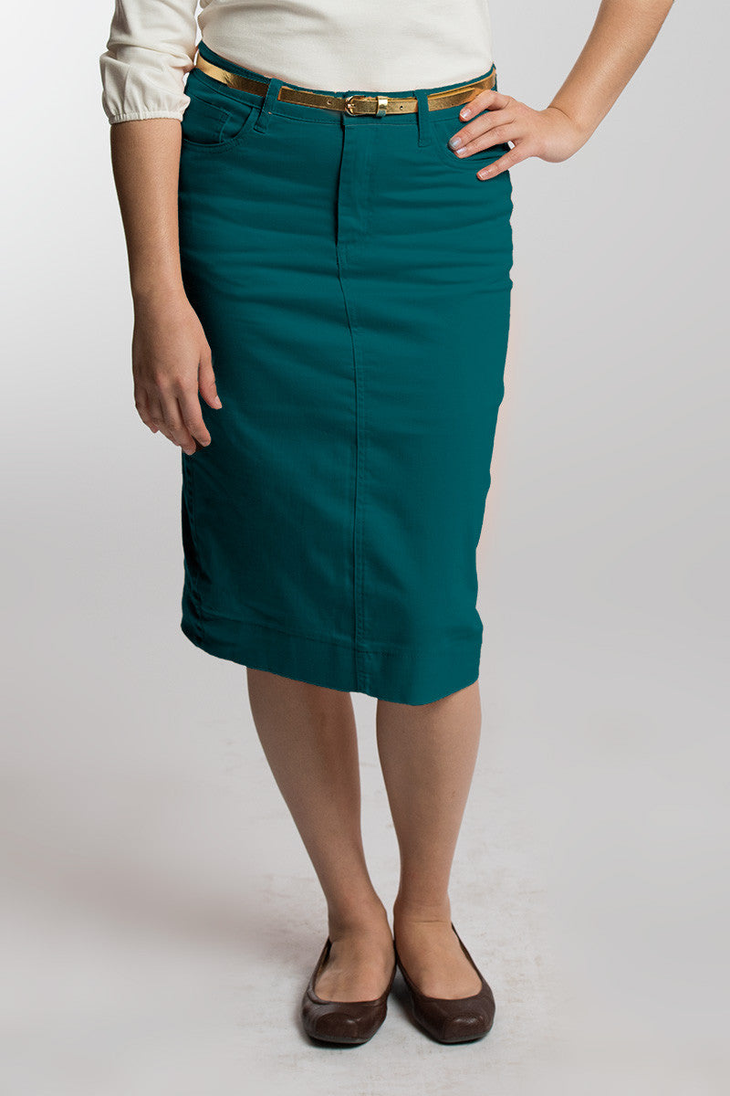 Deep Teal Denim Skirt
