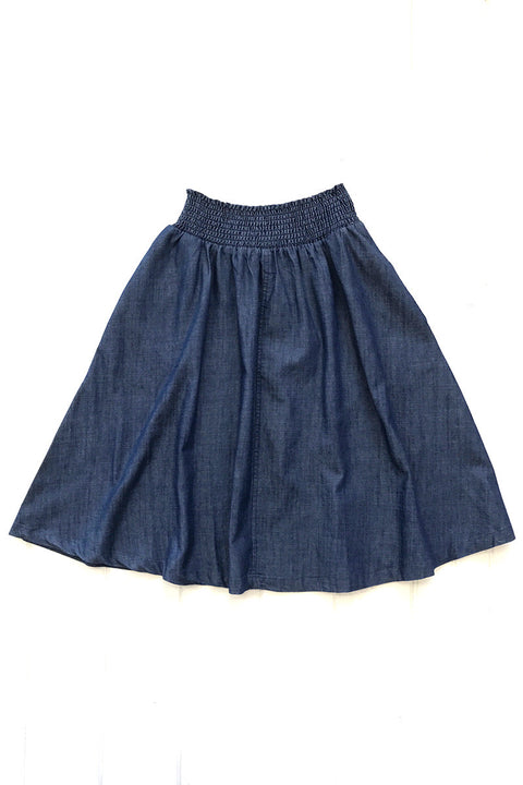 Denim A-line Skirt with Pockets