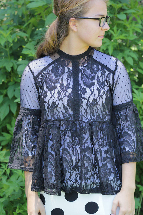 Black Lace Empire Top