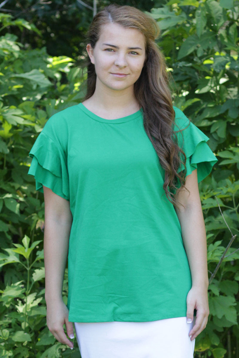 Clover Green Layered Sleeve Top