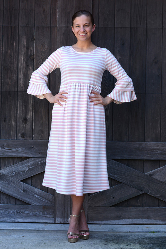 Pink & White Stripe Chelsea Ruffle Dress