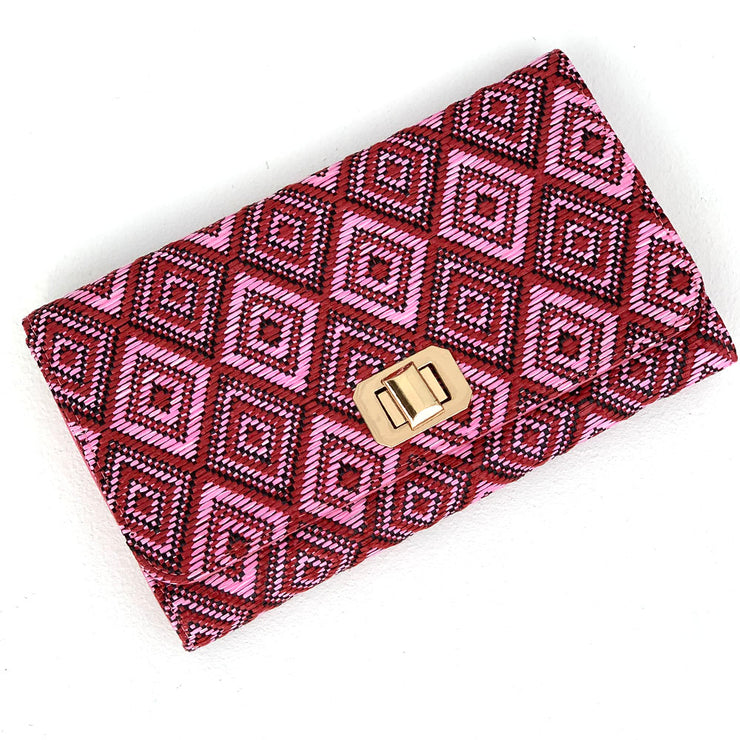 Pink & Red Aztec Print Clutch