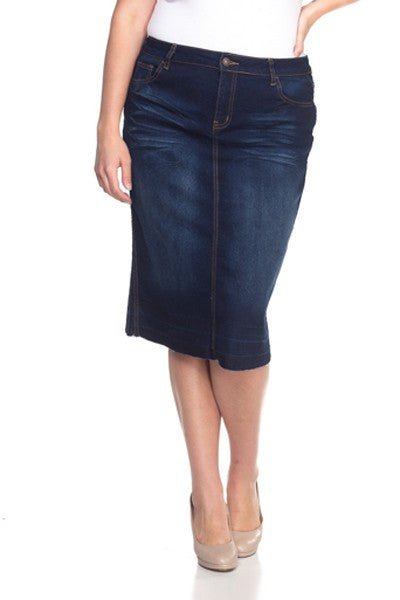 'Macy' Dark Wash Frayed Denim Skirt
