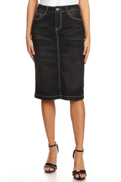 'Michelle'  Black Wash Denim Skirt