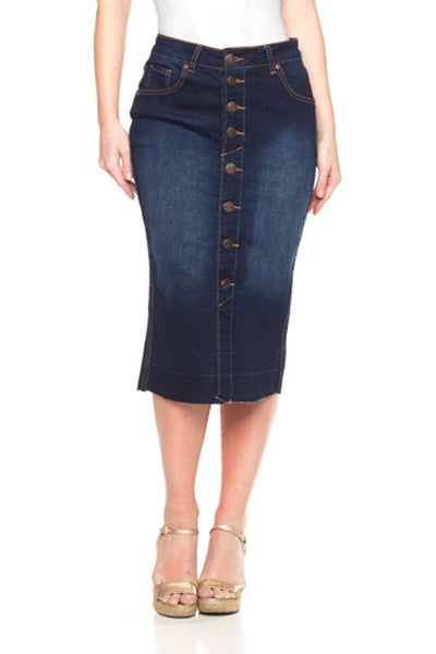 Rome Button Down Denim Skirt