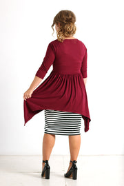 'Deanna' Burgundy Empire Tunic