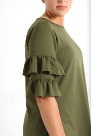 'Candace' Army Green Ruffle Sleeve Tunic