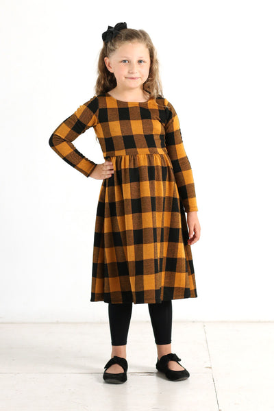 'Lily' Black & Mustard Buffalo Plaid Dress
