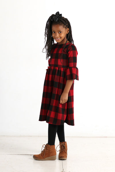 'Peyton' Black & Red Buffalo Plaid Dress