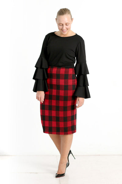 Buffalo Plaid Knit Skirt