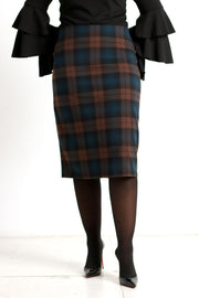 Black & Brown Plaid Skirt