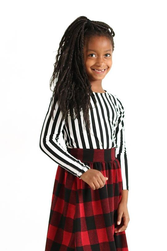 Girls Black & White Striped Long Sleeve Top