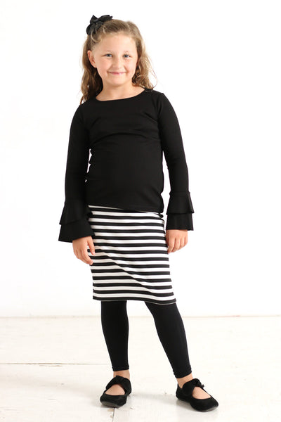 Girls Black & White Stripe Knit Skirt