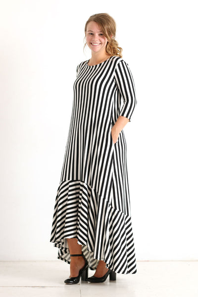 'Iris' Black & White Stripe Dress