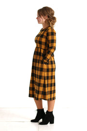 'Lily' Black & Mustard Plaid Dress