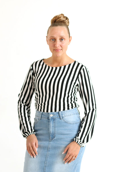 'Kaylee' Black and White Stripe Top