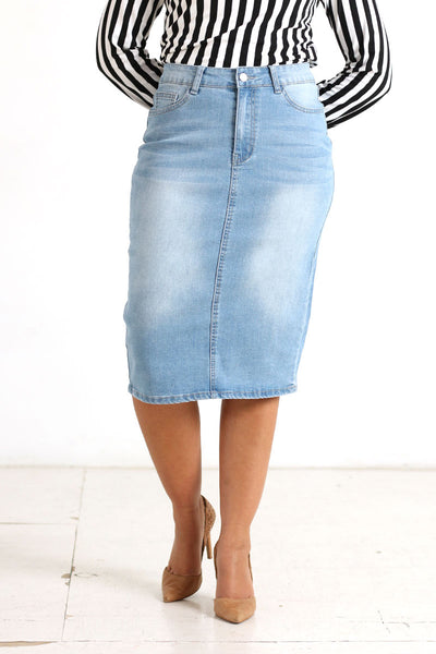 Light Wash 'Addi' Denim Skirt
