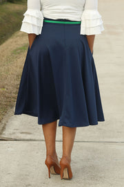 'Alisha' Navy Circle Skirt