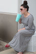 Gray/Navy Stripe Maxi Dress