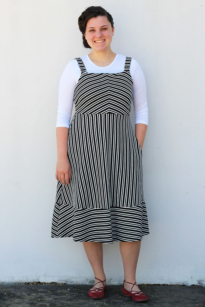 Black/White Stripe Strap Dress