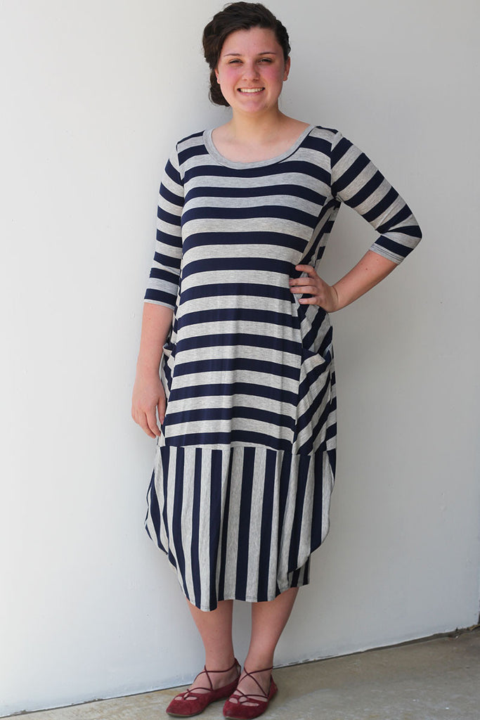 Gray/Navy Stripe Bubble Dress