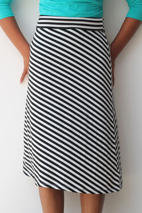 Black/White Stripe A-line Skirt
