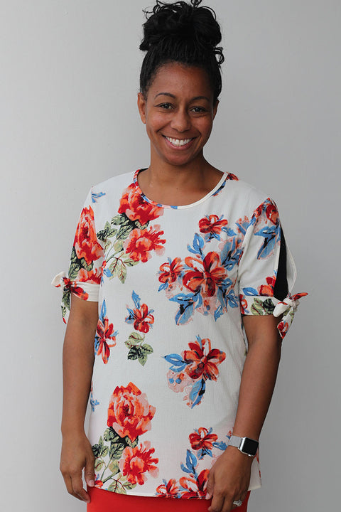 Cream Floral Tied Sleeve Tunic