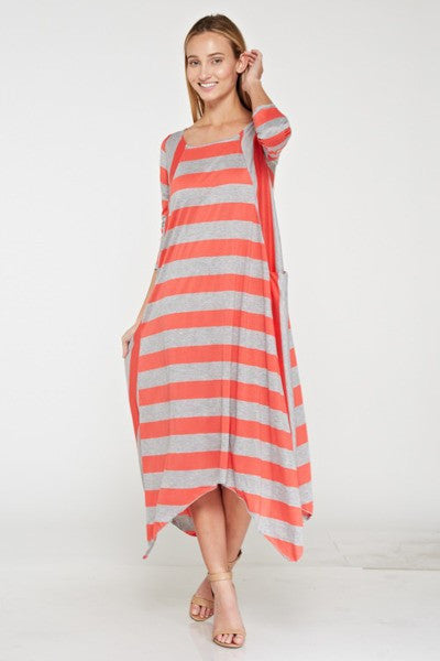 Coral & Gray Stripe Sharkbite Dress