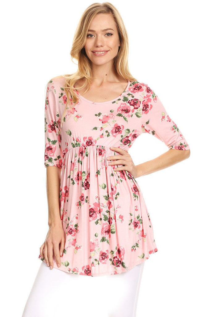Pink Floral Empire Top