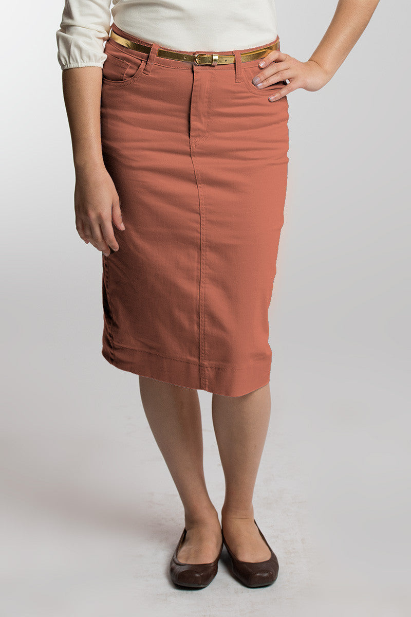 Mauve Denim Skirt