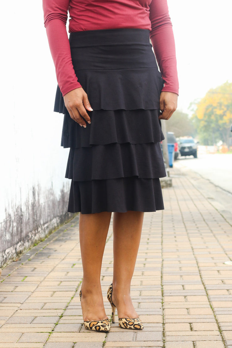 'Esther' Black Ruffle Skirt