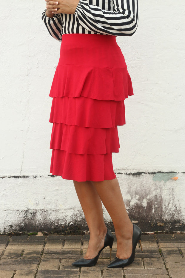 'Esther' Red Ruffle Skirt
