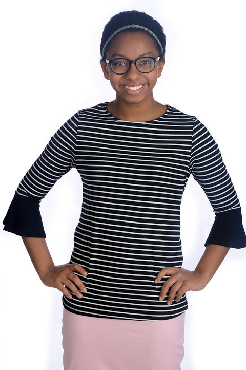Black & White Stripe Rebecca Bell Sleeve Top