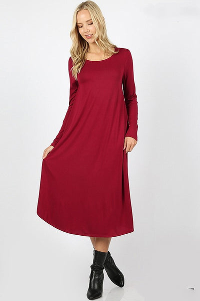 "'Monique"" Red  Long Sleeve Dress"
