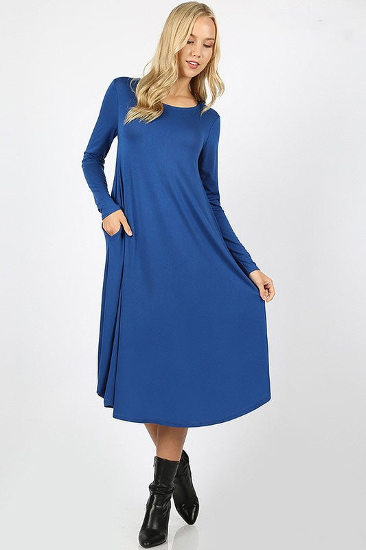 "'Monique"" Royal Blue Long Sleeve Dress"
