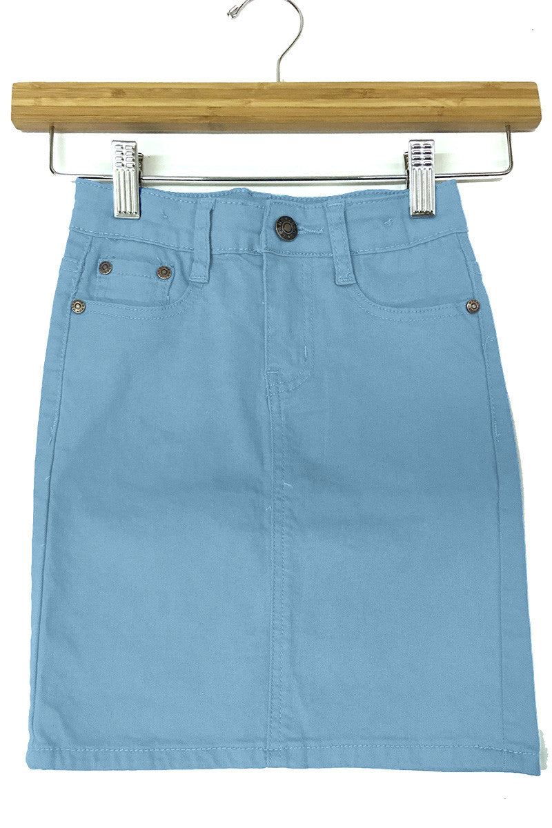 Girls Color Denim Skirt