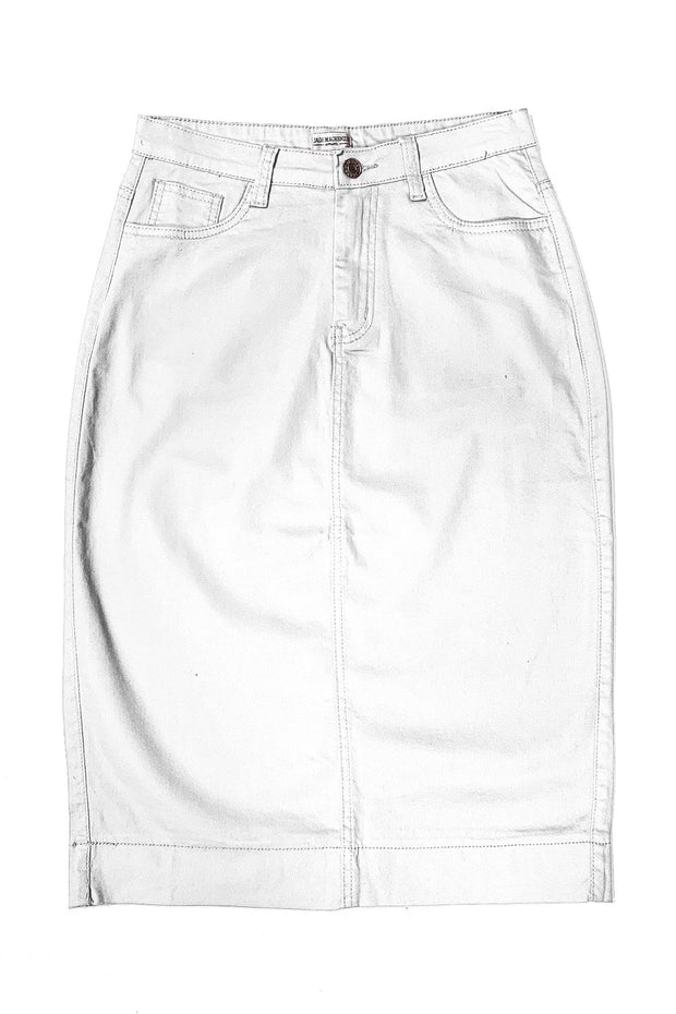 Arctic White Denim Skirt