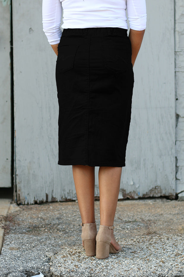 Black Elastic Waist Denim Skirt