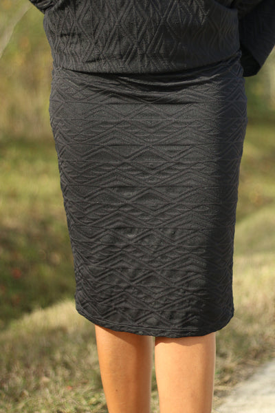 Black Jacquard Skirt