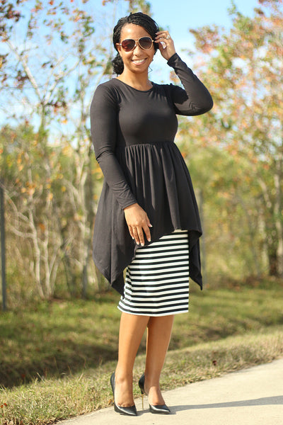 'Deanna' Black Empire Tunic
